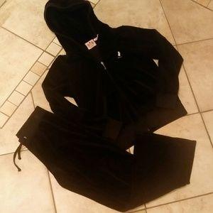 Juicy couture black♥ velvet hoodie and pant set
